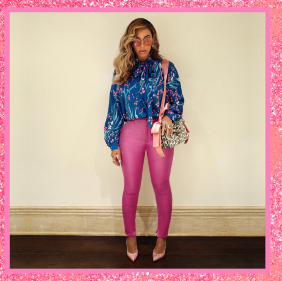 <p>Can you believe Beyoncé birthed twins three months ago?! The singer proved she's already bounced back, flaunting her curves in pink Balenciaga skin-tight pants with a blouse from the same designer tucked in. No caption necessary (obviously). (Photo: Beyoncé via Instagram) </p>