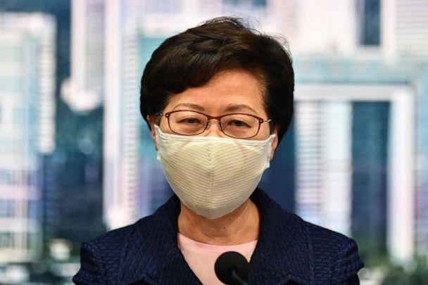 PHOTO: Hong Kong Chief Executive Carrie Lam speaks during a press conference at the government headquarters in Hong Kong on July 31, 2020. (Anthony Wallace/AFP via Getty Images)