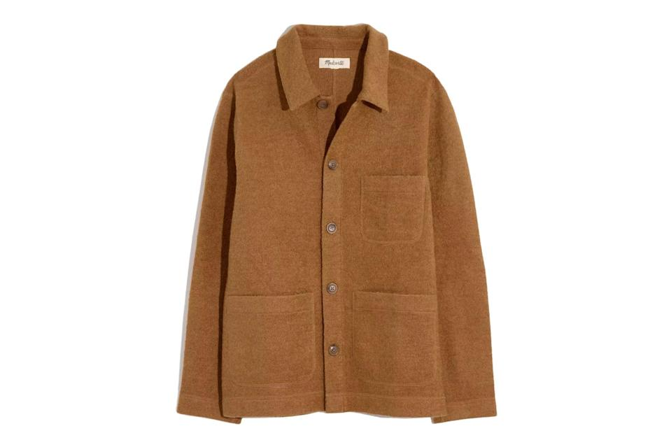 """$185, Madewell. <a href=""""https://www.madewell.com/boiled-wool-chore-jacket-MA961.html?dwvar_MA961_color=BR6183&dwvar_MA961_size=S&cgid=men-sale#start=2"""" rel=""""nofollow noopener"""" target=""""_blank"""" data-ylk=""""slk:Get it now!"""" class=""""link rapid-noclick-resp"""">Get it now!</a>"""