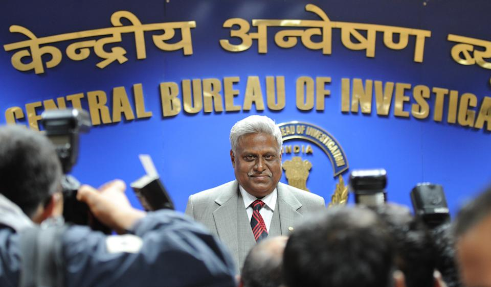 India's newly elected Central Bureau of Investigation (CBI) director Ranjit Sinha speaks with the media at CBI headquarters in New Delhi on December 3, 2012. The 59-year-old Sinha, who was the Indo-Tibetan Border Police Director, has served as the CBI's joint director in its anti-corruption unit. The CBI is an Indian governmental agency that jointly serves as a criminal investigation body, national security agency and intelligence agency. AFP PHOTO/ SAJJAD HUSSAIN        (Photo credit should read SAJJAD HUSSAIN/AFP via Getty Images)