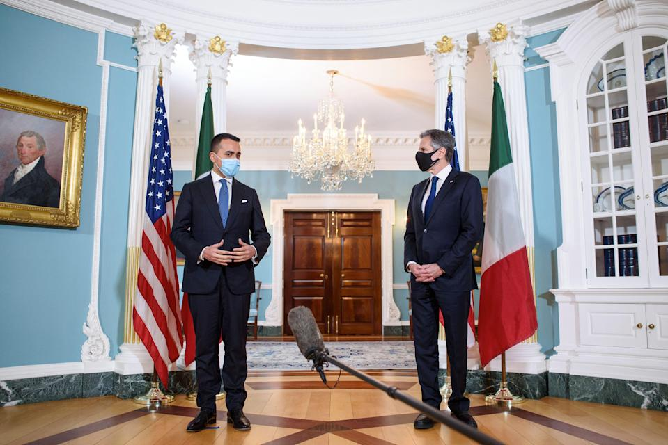US Secretary of State Antony Blinken (R) speaks ahead of a bilateral meeting with Italy's Foreign Minister Luigi Di Maio (L) at the State Department in Washington, DC on April 12, 2021. (Photo by MANDEL NGAN / POOL / AFP) (Photo by MANDEL NGAN/POOL/AFP via Getty Images) (Photo: MANDEL NGAN via POOL/AFP via Getty Images)