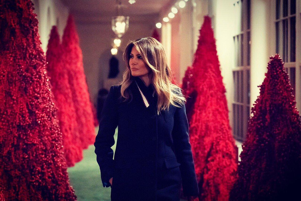 First lady Melania Trump walks through the East colonnade lined with topiary trees during the 2018 Christmas Press Preview at the White House in Washington, D.C., Monday, Nov. 26, 2018. (Photo: Melania Trump via Twitter)