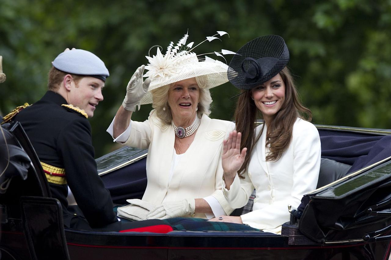 <p>For her debut Trooping the Colour in 2011, Kate decided to coordinate with her new step-mother-in-law Camilla in a tailored, white coat dress.</p>