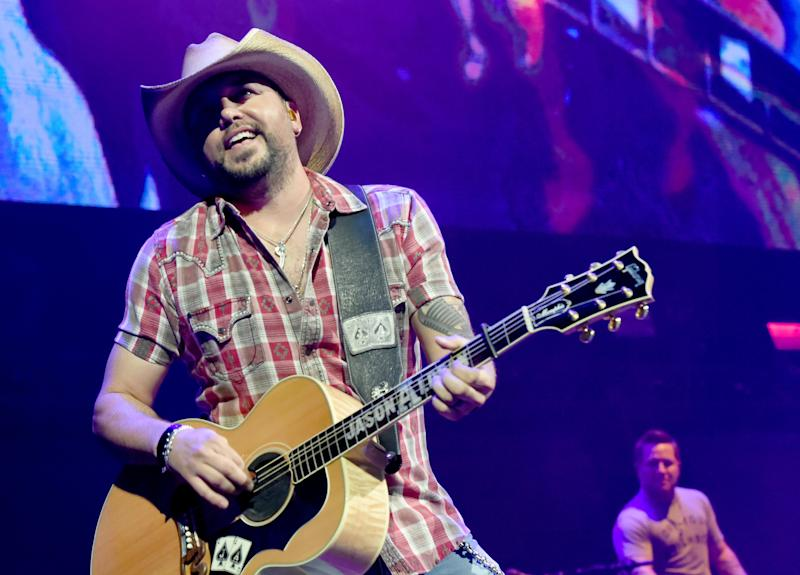 Jason Aldean performs onstage for the Country Rising Benefit Concert at Bridgestone Arena in Nashville, Tennessee, on Sunday. (Rick Diamond/Country Rising via Getty Images)