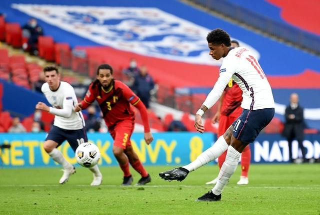 Marcus Rashford scored from the penalty spot as England came from behind to win the last Nations League meeting.