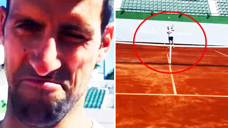 Novak Djokovic, pictured here getting back out on court in Spain.