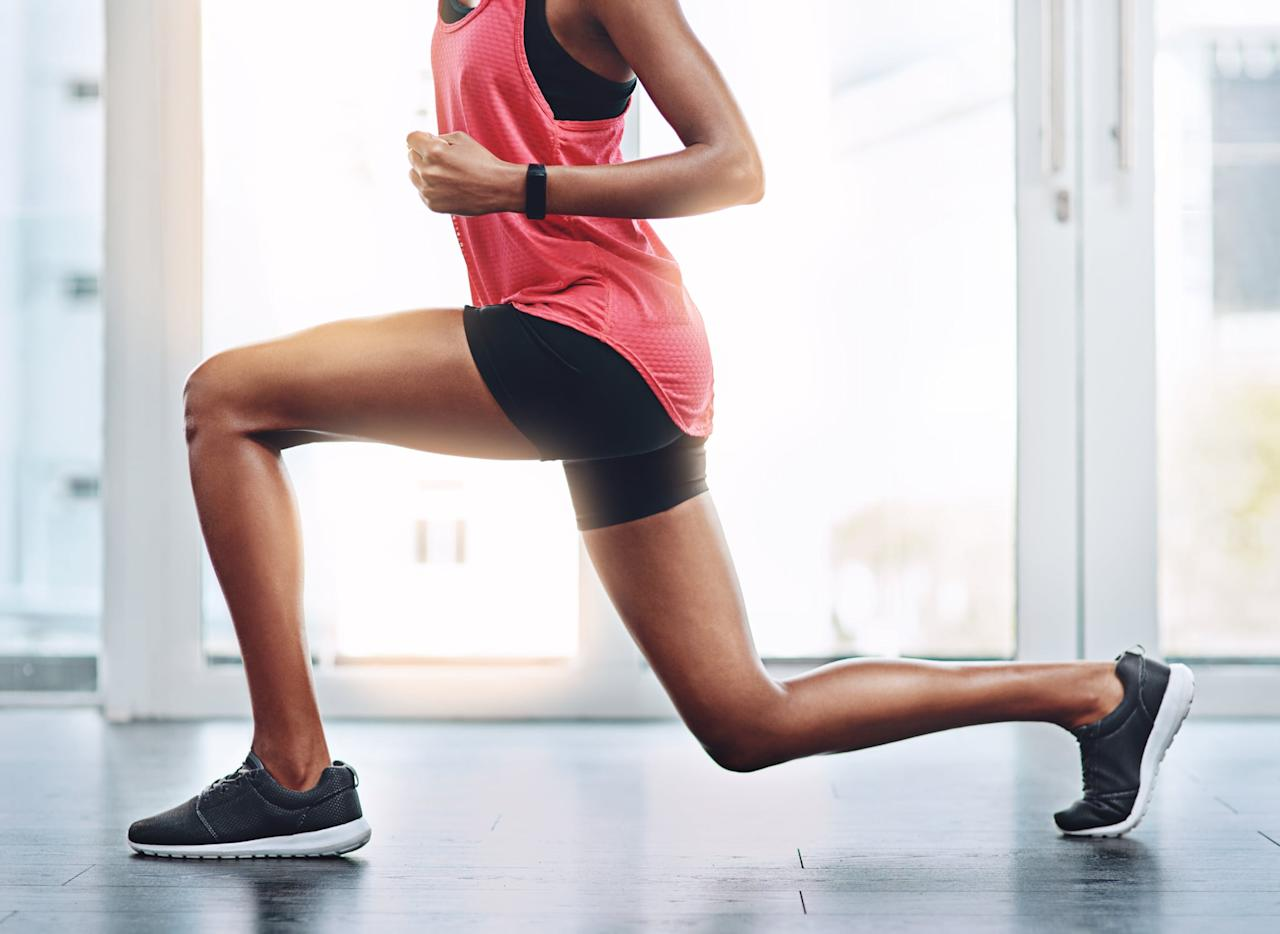 """<h2>Monday: Bodyweight Strength Circuit</h2> <ul> <li> <strong><a href=""""https://www.popsugar.com/fitness/How-Do-Reverse-Lunge-160059"""" class=""""ga-track"""" data-ga-category=""""Related"""" data-ga-label=""""https://www.popsugar.com/fitness/How-Do-Reverse-Lunge-160059"""" data-ga-action=""""In-Line Links"""">Reverse lunge</a>:</strong> Do three sets of 10 to 12 reps per leg.</li> <li> <strong>Three-round superset:</strong> Complete all of the reps for each move below with no rest in between exercises. <ul> <li> <strong><a href=""""https://www.popsugar.com/fitness/How-Do-Squats-8876316"""" class=""""ga-track"""" data-ga-category=""""Related"""" data-ga-label=""""https://www.popsugar.com/fitness/How-Do-Squats-8876316"""" data-ga-action=""""In-Line Links"""">Squats</a>:</strong> Do 15 to 20 reps.</li> <li> <strong><a href=""""https://www.popsugar.com/fitness/Best-Butt-Exercises-28185620"""" class=""""ga-track"""" data-ga-category=""""Related"""" data-ga-label=""""https://www.popsugar.com/fitness/Best-Butt-Exercises-28185620"""" data-ga-action=""""In-Line Links"""">Step-ups</a>:</strong> Using a step stool, complete 10 to 12 reps per leg.</li> <li> <strong><a href=""""https://www.popsugar.com/fitness/Crunch-Challenge-33924693"""" class=""""ga-track"""" data-ga-category=""""Related"""" data-ga-label=""""https://www.popsugar.com/fitness/Crunch-Challenge-33924693"""" data-ga-action=""""In-Line Links"""">Crunches</a>:</strong> Do three sets of 12 to 15 reps.</li> <li> <strong><a href=""""https://www.popsugar.com/fitness/Tone-Your-Abs-Without-Crunches-7859508"""" class=""""ga-track"""" data-ga-category=""""Related"""" data-ga-label=""""https://www.popsugar.com/fitness/Tone-Your-Abs-Without-Crunches-7859508"""" data-ga-action=""""In-Line Links"""">Scissor abs</a>:</strong> Do three sets of 8 to 10 reps per side.</li> <li> <strong><a href=""""https://www.popsugar.com/fitness/How-Do-Plank-31255645"""" class=""""ga-track"""" data-ga-category=""""Related"""" data-ga-label=""""https://www.popsugar.com/fitness/How-Do-Plank-31255645"""" data-ga-action=""""In-Line Links"""">Plank</a>:</strong> Hold for 30 to 45 seconds; repeat three times.</li> <li> <str"""