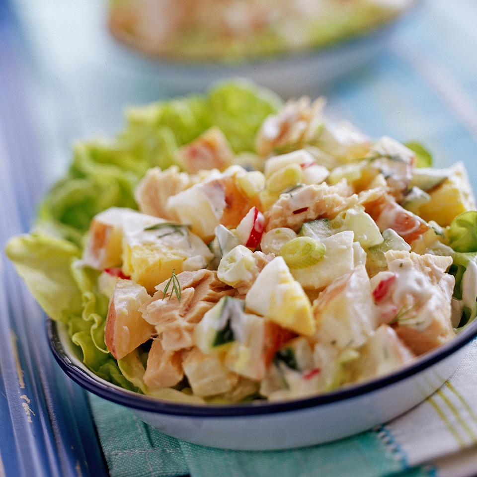 <p>This potato salad gets extra protein from hard-cooked eggs and canned tuna. Prep time is just 30 minutes but you'll want to chill the salad for at least four hours to let the lemon and dill flavors develop fully.</p>
