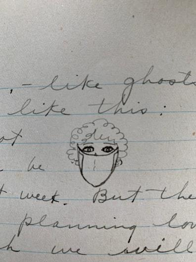 Violet Harris' drawing of what the masks everyone in Seattle was ordered to wear when outside looked like.