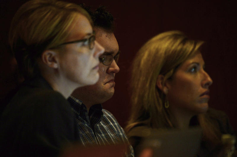 Tears roll down the face of Austin Sigg, center, in district court in Golden, Colo., on Monday, Nov. 18, 2013, during his sentencing phase. Sigg, 18, pleaded guilty last month to kidnapping and killing Jessica Ridgeway in Westminster in October 2012. (AP Photo/Denver Post, RJ Sangosti, Pool)