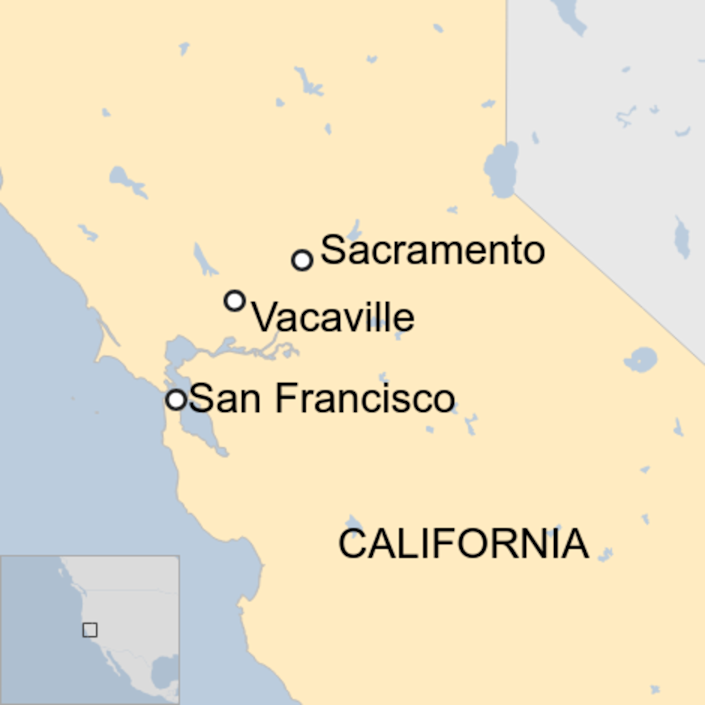 Map: Vacaville in relation to the cities of San Francisco and Sacramento