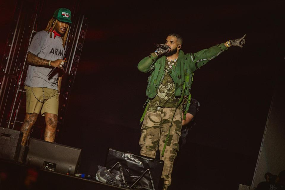 Drake and Future on stage (Ben Awin/PA)