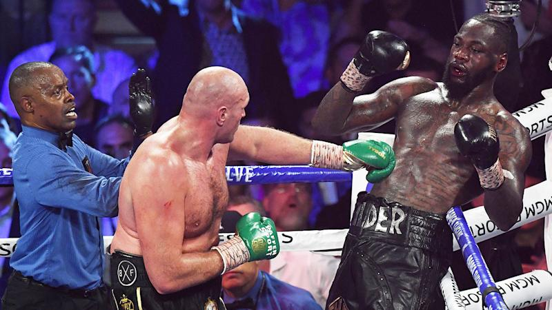 Deontay Wilder's team threw in the towel after sustained punishment from Tyson Fury. Pic: Getty
