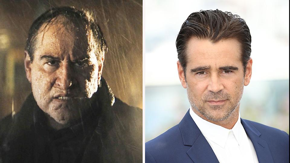 Colin Farrell as The Penguin (left) and normally (right) unrecognisable in new trailer for The Batman