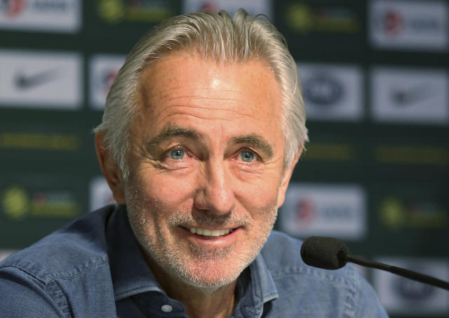 Australia's national soccer team head coach Bert van Marwijk speaks in Sydney, Monday, May 7, 2018. Van Marwijk has named 32 players as part of his preliminary squad for the 2018 World Cup in Russia. (AP Photo/Rick Rycroft)