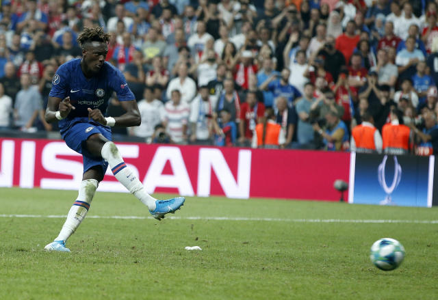 Chelsea's Tammy Abraham volunteered to take the pressure penalty - but missed.(AP Photo/Lefteris Pitarakis)