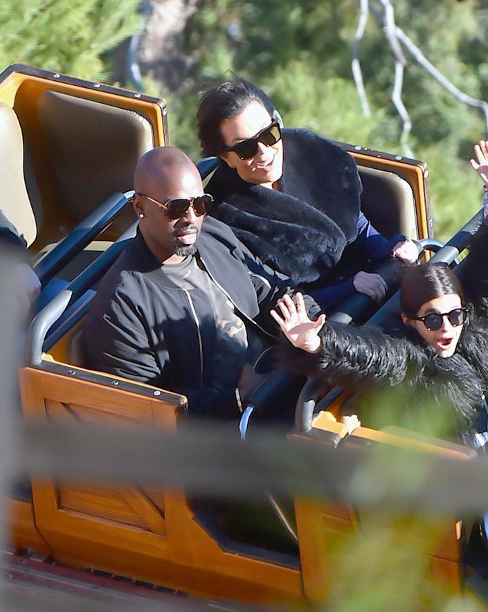 <p>Corgan wasn't alone. The Kardsashian momager's boyfriend also looked as if he had a better place to be when he rode the same ride at a family kiddie birthday bash. (Photo: Splash News) </p>