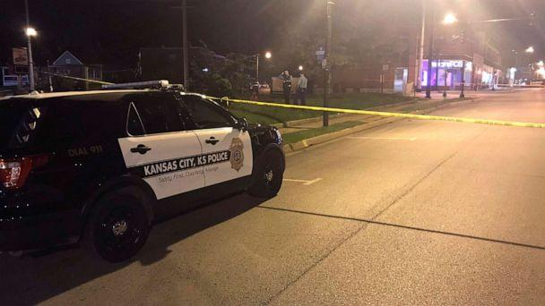 PHOTO: In this image from 41 KSHB Kansas City Action News police work the scene of a shooting outside a Kansas City, Kansas bar, Oct. 6, 2019. (41 KSHB Kansas City Action News via AP)