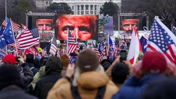 PHOTO: President Donald Trump appears on video screens in front of supporters during a rally in Washington, D.C., on the morning of Jan. 6, 2021. (John Minchillo/AP, FILE)