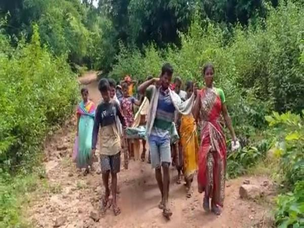 Villagers carry a pregnant woman on a make-shift cot for around 11 kilometres through a rough path. (Photo/ANI)