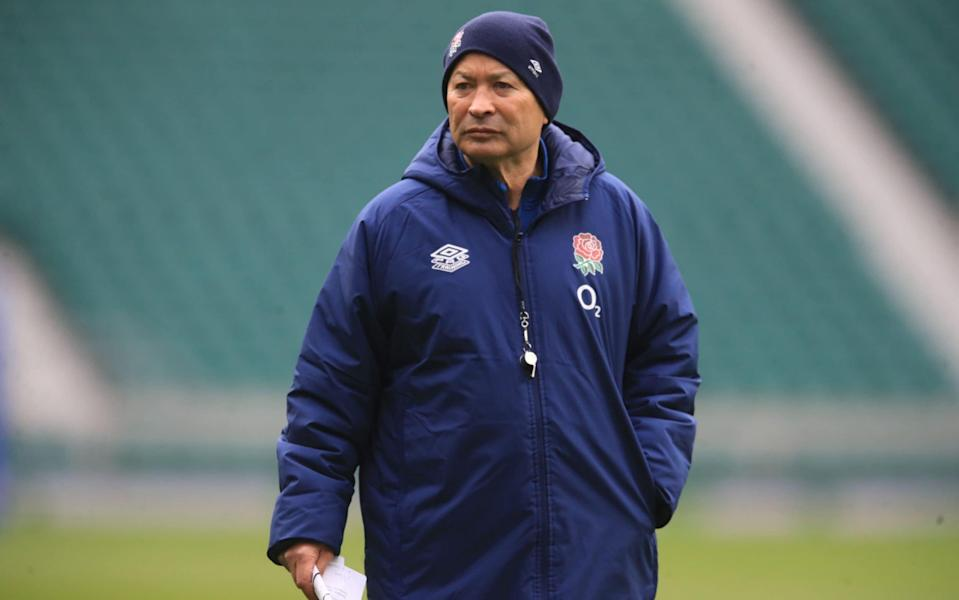 England's coach Eddie Jones looks on during an England rugby training session in Twickenham, greater London on October 17, 2020. - AFP