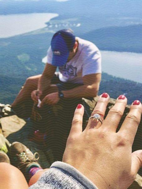 Cari Swanger shows off her engagement ring at Mount Tallac in South Lake Tahoe, California. (Courtesy Cari Swanger)