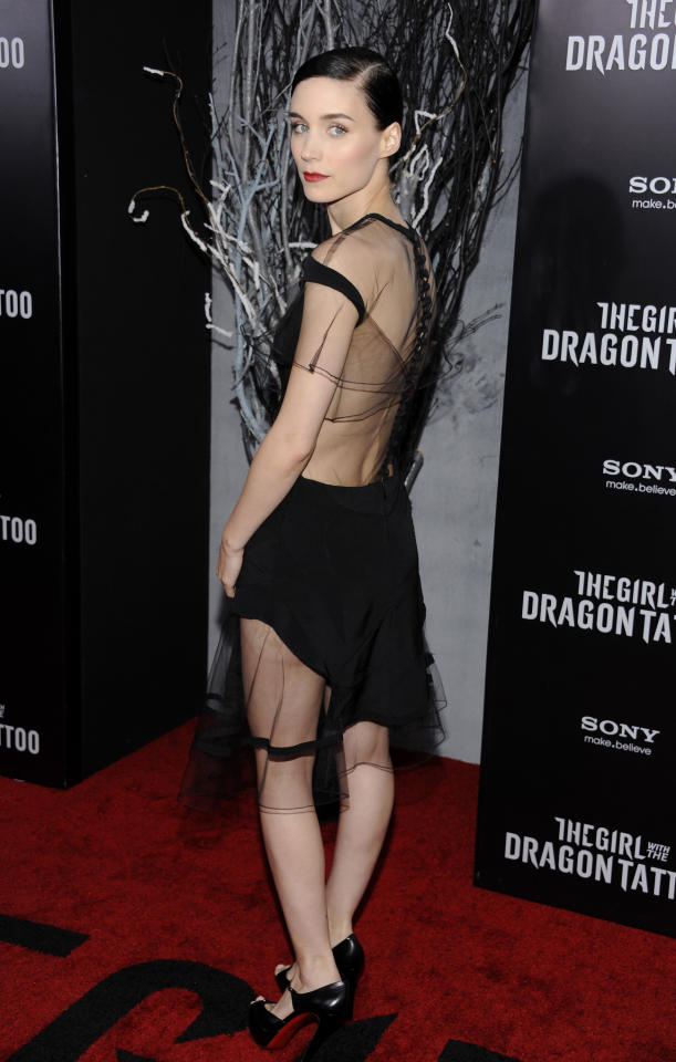 """Actress Rooney Mara attends the premiere of """"The Girl With The Dragon Tattoo"""" at the Ziegfeld Theatre on Wednesday, Dec. 14, 2011 in New York. (AP Photo/Evan Agostini)"""