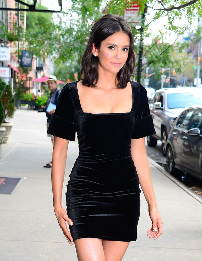 NEW YORK, NY - AUGUST 08: Actress Nina Dobrev is seen on August 8, 2018 in New York City. (Photo by Raymond Hall/GC Images)