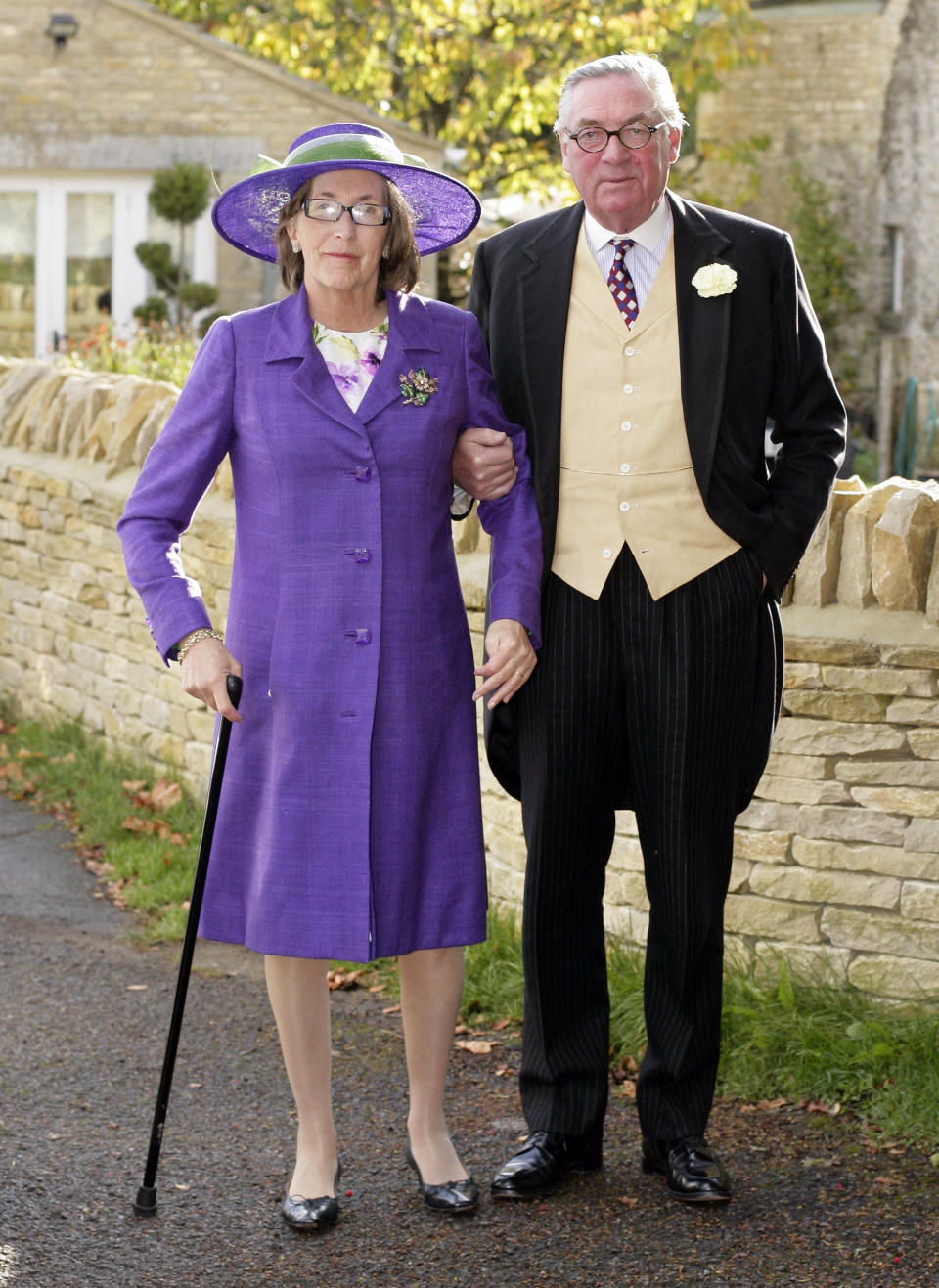 NORTHLEACH, UNITED KINGDOM - OCTOBER 23: (EMBARGOED FOR PUBLICATION IN UK NEWSPAPERS UNTIL 48 HOURS AFTER CREATE DATE AND TIME) Lady Celia Vestey and Lord Samuel Vestey attend Harry Meade & Rosie Bradford's wedding at the Church of St. Peter and St. Paul on October 23, 2010 in Northleach near Cheltenham, England. (Photo by Indigo/Getty Images)