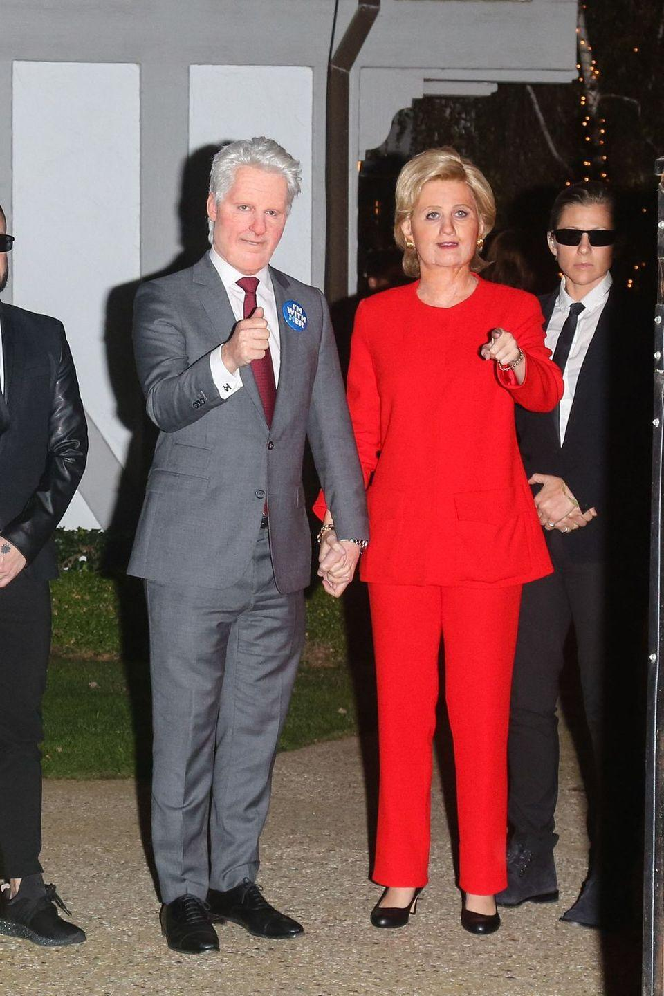 <p>The California Girl singer had her pantsuit at the ready to become Hillary Clinton for Kate Hudson's Halloween party in 2016, which was actually in the run up to the US presidential election.</p>