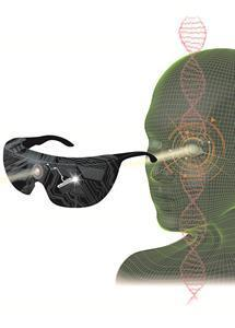 The retina of a blind person is made light sensitive using optogenetic therapy and is illuminated by light-stimulating goggles that capture images from the visual world using a neuromorphic camera