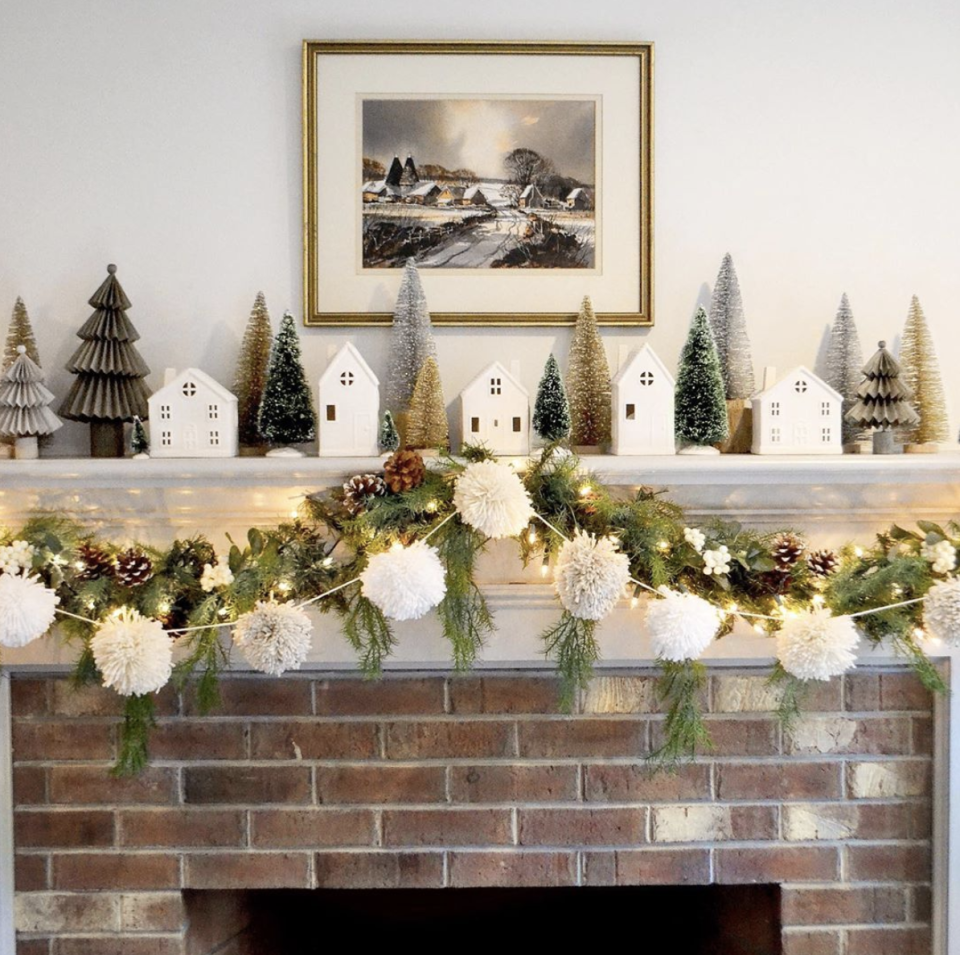 "<p>A big white pom-pom garland adds just a touch of whimsy, without making the whole mantel feel overdone. </p><p><em>See more at <a href=""https://www.instagram.com/p/B5VTEL7HhzW/"" rel=""nofollow noopener"" target=""_blank"" data-ylk=""slk:Pewter and Sage"" class=""link rapid-noclick-resp"">Pewter and Sage</a>.</em></p><p><a class=""link rapid-noclick-resp"" href=""https://www.amazon.com/Colorful-Christmas-Decoration-Festivals-Decorations/dp/B08GCJCX24?tag=syn-yahoo-20&ascsubtag=%5Bartid%7C10072.g.34484299%5Bsrc%7Cyahoo-us"" rel=""nofollow noopener"" target=""_blank"" data-ylk=""slk:SHOP GARLAND"">SHOP GARLAND</a></p>"