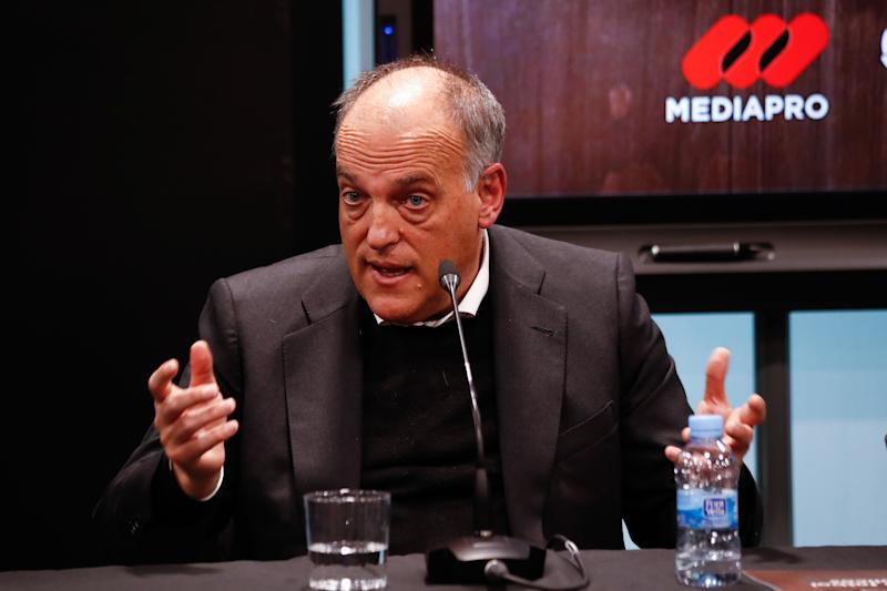 MADRID, SPAIN - JANUARY 22: Javier Tebas, President of La Liga, talks during the presentation of a report on football consumption in bars in Spain at La Liga building on January 22, 2020 in Madrid, Spain. (Photo by Oscar J. Barroso / AFP7 / Europa Press Sports via Getty Images)