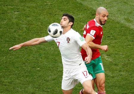 Soccer Football - World Cup - Group B - Portugal vs Morocco - Luzhniki Stadium, Moscow, Russia - June 20, 2018 Portugal's Goncalo Guedes in action with Morocco's Nordin Amrabat REUTERS/Christian Hartmann