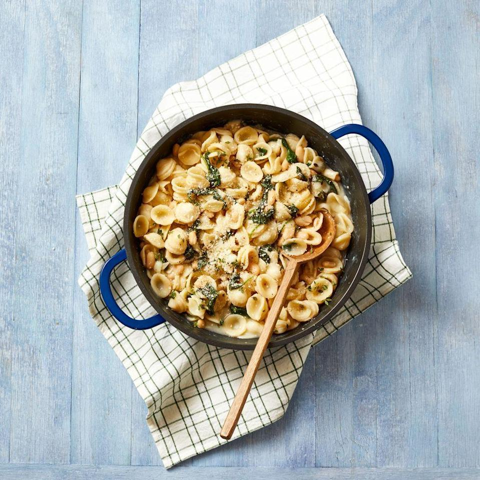 "<p>This hearty and healthy vegetarian pasta dish packs in plenty of protein with help from cannellini beans.</p><p><a class=""link rapid-noclick-resp"" href=""https://go.redirectingat.com?id=74968X1596630&url=https%3A%2F%2Fwww.qvc.com%2Fkitchen-%26-food%2Fgood-housekeeping%2F_%2FN-lglvZ1yp080u%2Fc.html%3Fcm_ven%3DEDIT%26cm_cat%3DVENDOR%26cm_pla%3DGOODHOUSEKEEPING_20201011_id%253AGOODHOUSEKEEPING%26cm_ite%3DKIT_BRANDPAGE_ai%253AGOODHOUSEKEEPING%26irgwc%3D1%26ref%3DIR%26clickid%3DWGv1eS088xyLUKQ07OwzdzZ-UkEy17RQEzYFzo0%26cm_mmc%3Dimpactradius-_-Content-_-10078-_-sid_goodhousekeeping.com%26cm_mmca2%3D565130%26cm_mmca9%3DWGv1eS088xyLUKQ07OwzdzZ-UkEy17RQEzYFzo0%26cm_mmca10%3DOnline%2BTracking%2BLink%26cm_mmca11%3DSkimbit%2BLtd.&sref=https%3A%2F%2Fwww.goodhousekeeping.com%2Ffood-recipes%2Fg605%2Ffamily-style-recipes%2F"" rel=""nofollow noopener"" target=""_blank"" data-ylk=""slk:Shop Good Housekeeping Cookware"">Shop Good Housekeeping Cookware</a></p><p><em><a href=""https://www.goodhousekeeping.com/food-recipes/a34463100/orecchiette-with-white-beans-and-spinach-recipe/"" rel=""nofollow noopener"" target=""_blank"" data-ylk=""slk:Get the recipe for Orecchiette With White Beans and Spinach »"" class=""link rapid-noclick-resp"">Get the recipe for Orecchiette With White Beans and Spinach »</a></em></p>"