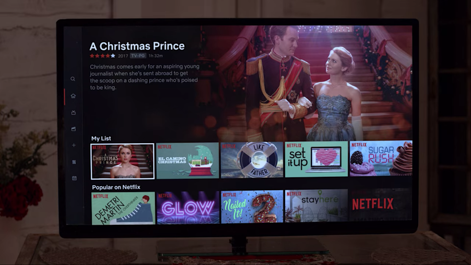<p>In 'The Princess Switch', Margaret and Kevin watched 'A Christmas Prince' together</p>Netflix