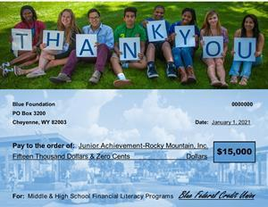 JA Kids Thank Blue For the donation!
