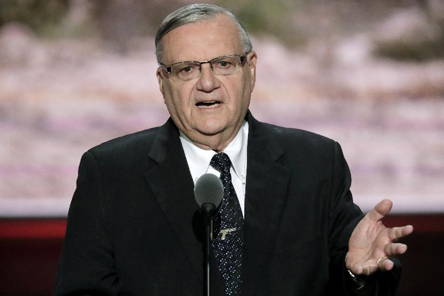 FILE - This July 21, 2016 photo shows Sheriff Joe Arpaio of Maricopa County, Ariz., speaks during the final day of the Republican National Convention in Cleveland. Arpaio's campaign manager has questioned a judge's timing in asking prosecutors to pursue a criminal contempt-of-court case against the lawman 10 days before he faces a primary election. (AP Photo/J. Scott Applewhite,File)