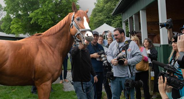 "<span class=""s1"">Triple Crown winner Justify after his historic win at Belmont Park. (Photo: Bryan Smith via ZUMA Wire)</span>"