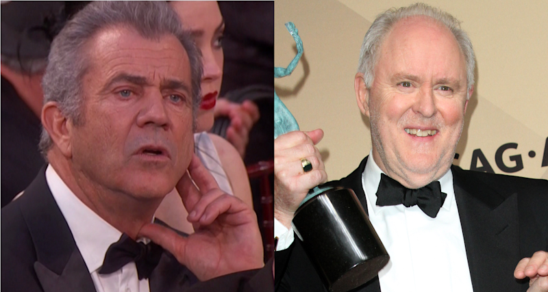 Mel Gibson and John Lithgow at recent award shows. (Credit: WENN)