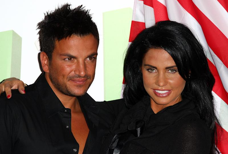 LONDON - APRIL 14: Katie Price and Peter Andre launch the latest chapter of their reality series at The Soho Hotel on April 14, 2009 in London. (Photo by Gareth Cattermole/Getty Images)