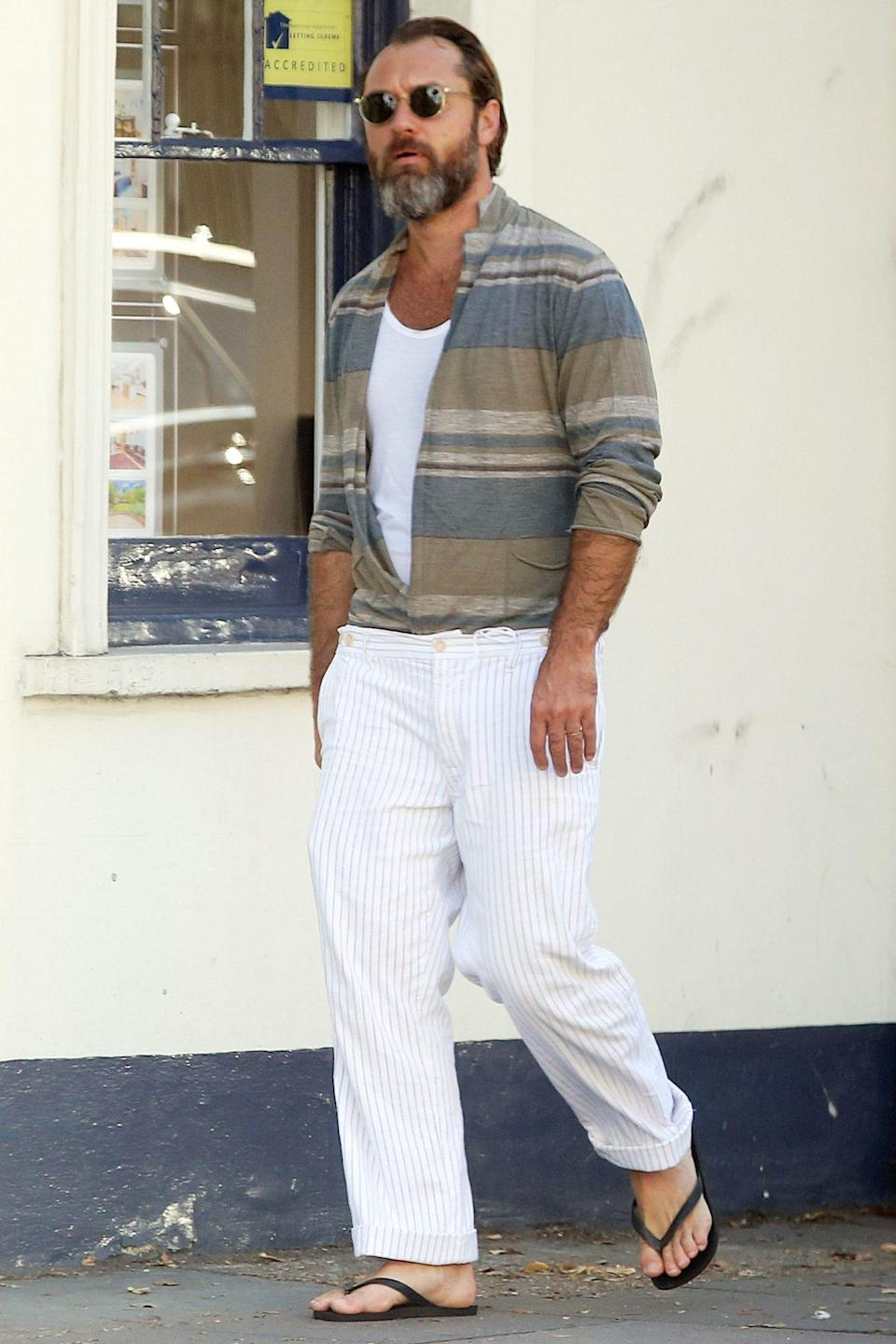 <p>Jude Law sports a summery, laid-back look while out for a walk on Monday in London.</p>