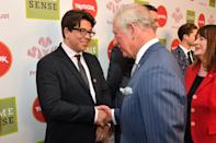 The Prince of Wales meets Michael McIntyre at the annual Prince's Trust Awards at the London Palladium.