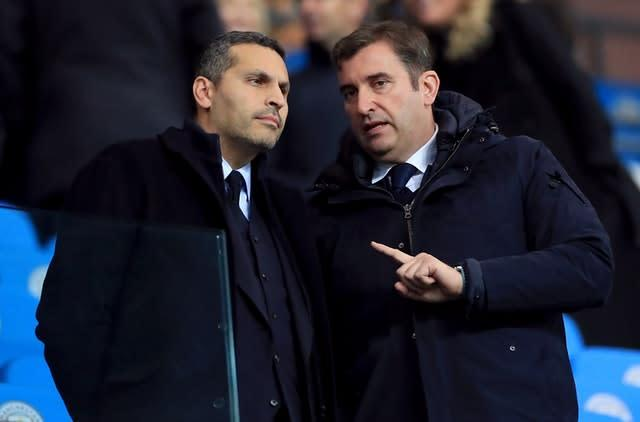 Ferran Soriano (right, alongside chairman Khaldoon Al Mubarak) has strongly denied any financial wrongdoing by Manchester City (Mike Egerton/PA)