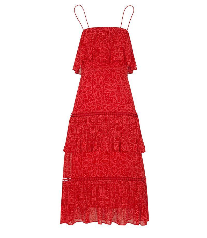 "<p>Riya tiered red dress - £199.00</p><p><a rel=""nofollow"" href=""https://www.houseoffraser.co.uk/women/whistles-riya-print-tiered-dress/d899743.pd#293285942"">BUY NOW</a><br></p>"