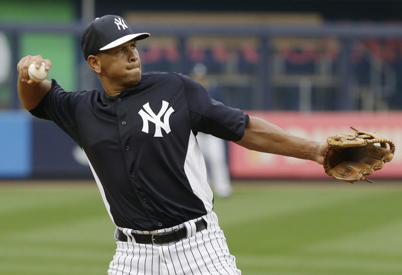 New York Yankees' Alex Rodriguez fields balls during batting practice before a baseball game against the Detroit Tigers on Friday, Aug. 9, 2013, in New York. (AP Photo/Frank Franklin II)