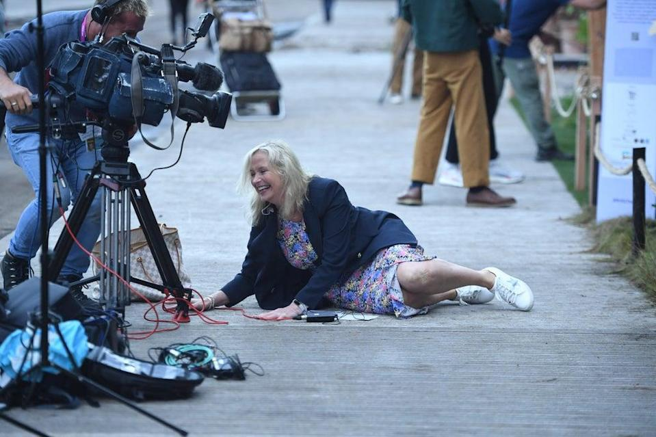 Carol Kirkwood was pulled to the ground during a live TV link (Jeremy Selwyn)