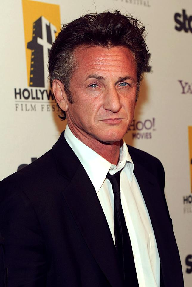 "<a href=""http://movies.yahoo.com/movie/contributor/1800019044"">Sean Penn</a> attends the 14th Annual Hollywood Awards Gala at the Beverly Hilton Hotel on October 25, 2010."