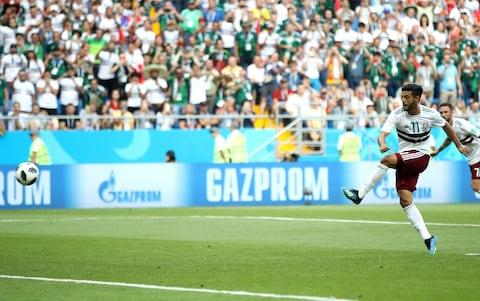 Vela puts Mexico 1-0 up - Credit: Clive Brunskill/Getty Images
