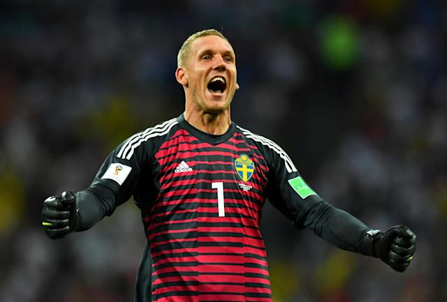 Soccer Football - World Cup - Group F - Germany vs Sweden - Fisht Stadium, Sochi, Russia - June 23, 2018 Sweden's Robin Olsen celebrates after Ola Toivonen (not pictured) scored their first goal REUTERS/Dylan Martinez TPX IMAGES OF THE DAY